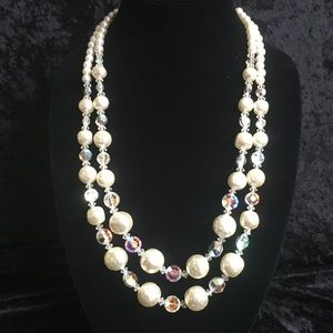 Jewelry - Vintage pearl & AB crystal 2 strand necklace M006